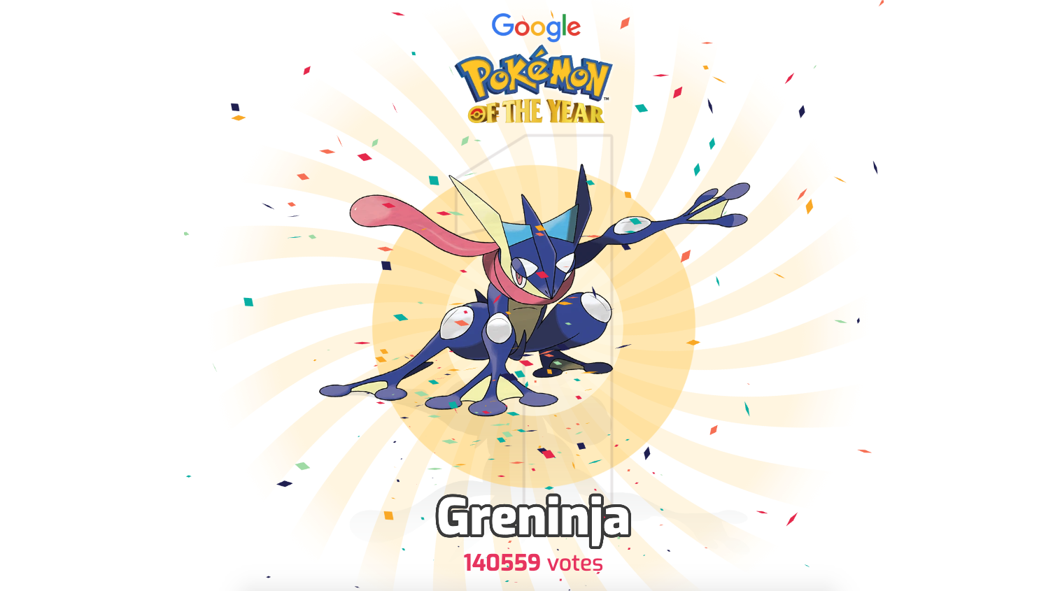 Google เผยอันดับ Pokemon of The Year แชมป์ปีนี้ได้แก่ กบนินจาสุดหล่อ Greninja